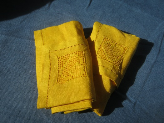 Everyday Sunshine - dyed vintage linen napkins.