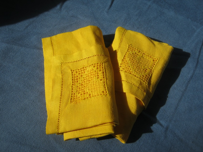 Everyday Sunshine - dyed vintage linen napkins.