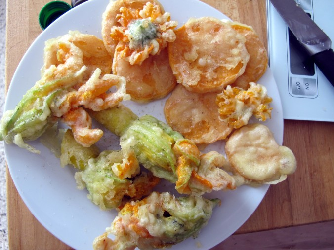tempura fried vegetables and flowers